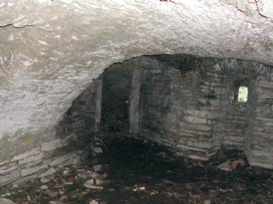 Blick in den durch ein Tonnengewölbe ausgebildeten Keller des Herrenhauses (2003).