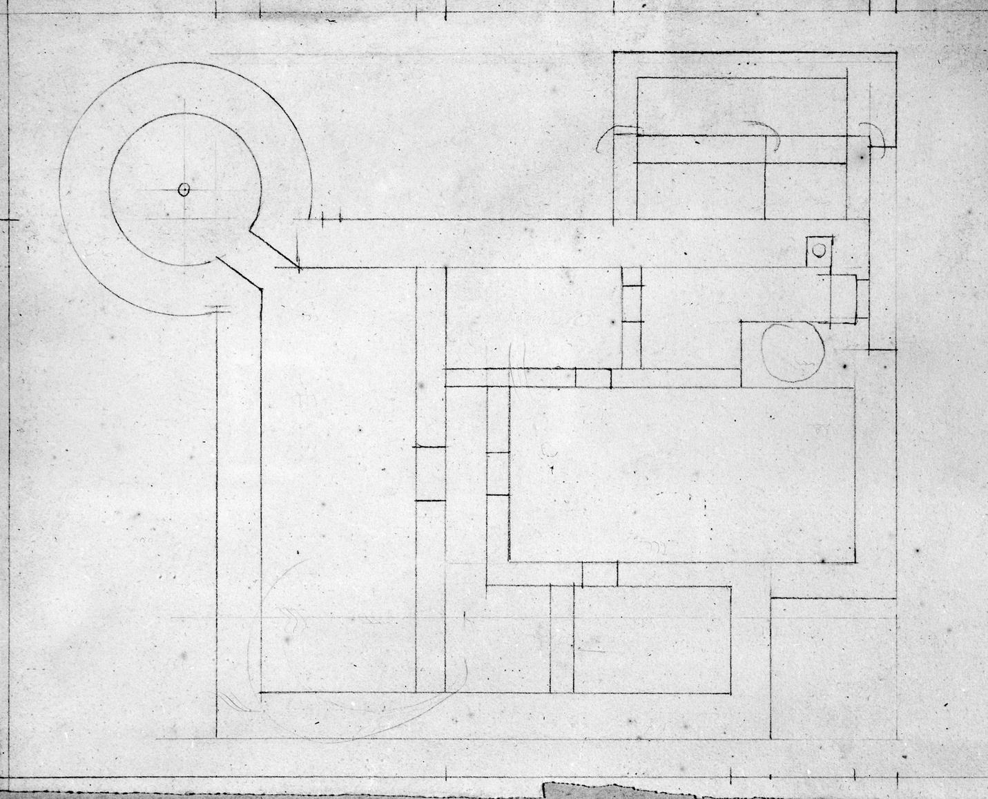 Herrenhaus, Grundrißskizze. Blei 18,5 x 32 Kein Maßstab, unbezeichnet. 19. Jh. (LWL-Münster 80/3003)