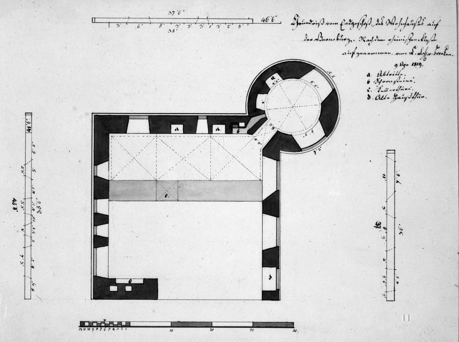 Grundriß vom Erdgeschoß des Wohnhauses auf der Vernaburg. Nach dem rheinischen Fusse aufgenommen von F.Frhr.v.Brenken 9. April 1819 Feder, grau laviert, 22,9 x 32 Zwei Transversalmaßstäbe = 9,9 und 11,8 cm Maßstab von 40 Fuss = 10,3 cm Einige Beischriften. (LWL-Münster 80/3004)