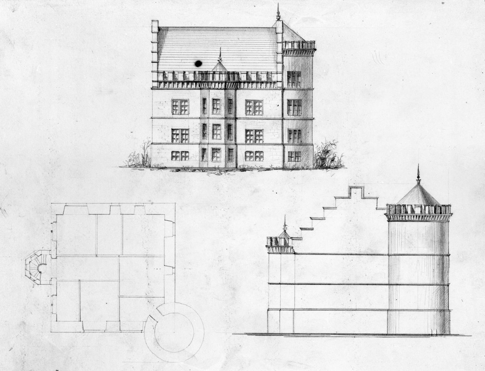 Herrenhaus, Ausbauskizze. Ein Grundriß und zwei Aufrisse, Blei 25,2 x 34 Maßstab von 70 Einheiten = 12 cm. unbezeichnet. H. 19. Jh. (LWL-Münster 80/3008)