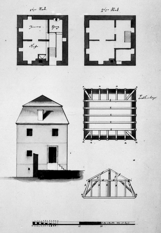 Eckpavillon, Entwurf zum Ausbau. Feder, grau laviert.32,1 x 23,1 WZ: John Fellow 1806 Maßstab von 20 Einheiten = 5,2 cm. Einzelne Beischriften. Bes.: F. Frhr. v. Brenken 1819 4 ten April. (LWL_Münster 80/3005)