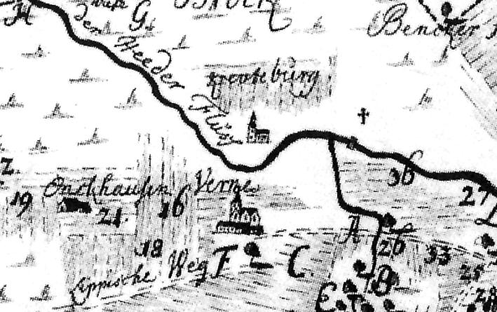 Die Vernaburg (Krewetburg) auf einer Karte von 1756 (Staatsarchiv Münster).