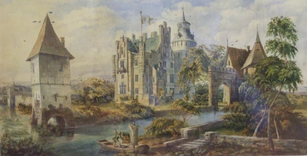 Fantasievolle Darstellung der Vernaburg durch einen unbekannten Künstler und nicht bekanntem Datum.